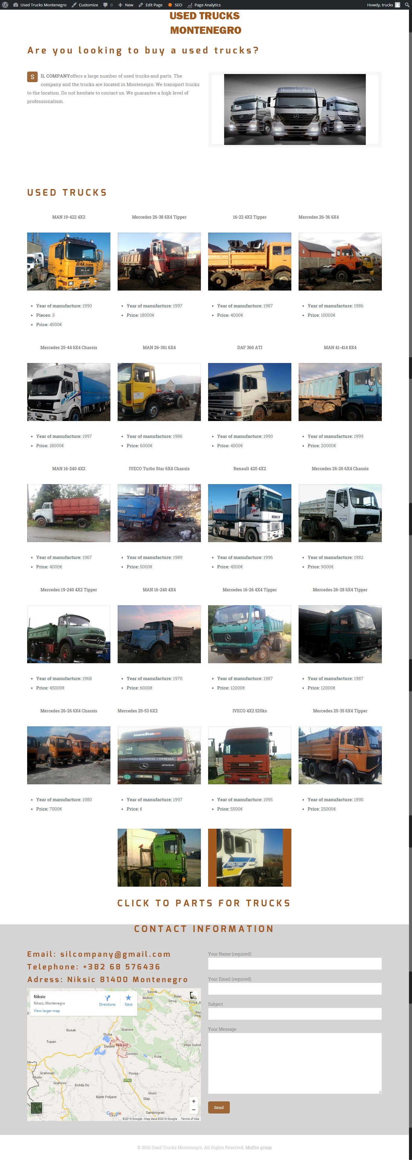 used trucks montenegro